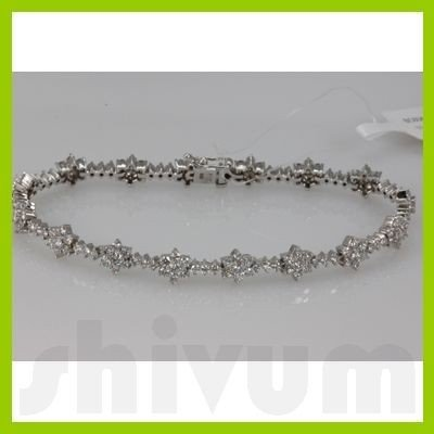 Genuine 4.51ctw Diamond Bracelet 14K White Gold
