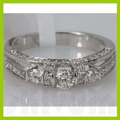 Genuine 0.83 ctw Diamond Ring 14K White Gold