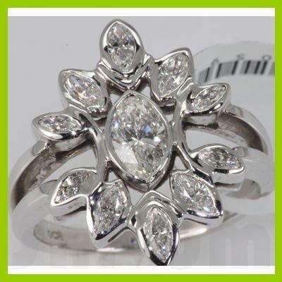 Genuine 1.14 ctw Diamond Ring 14K White Gold