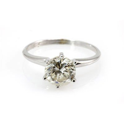 Genuine Solitaire Ring 1.56 ctw & Diamond Ring 14KTGold