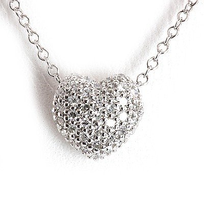 Genuine 0.15 Ctw White Diamond Puff Heart Necklace 14K