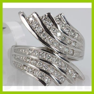 Genuine 0.16 ctw Diamond Ring 14K White Gold
