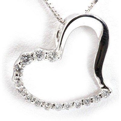 Genuine 0.19 Ctw White Diamond Heart Necklace 14K White