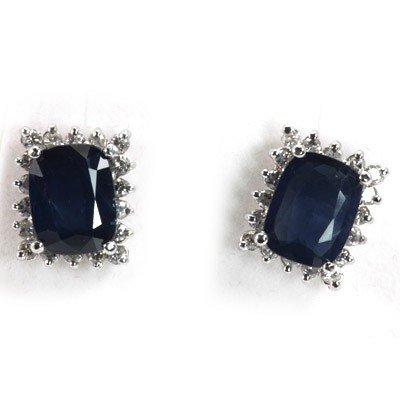 Genuine Blue Sapphire 3.798 ctw & Diamond Earring 14K