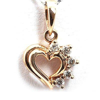 Genuine 0.1Ctw White Diamond Heart Necklace 14K Rose Go