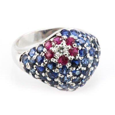 Genuine Ruby & Blue Sapphire 4.43 ctw Diamond Ring 14K