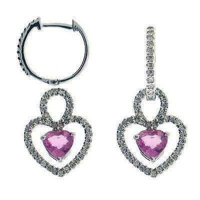 Genuine 14Kt Earrings 102 Single Diamonds 34Pts. 2 Pink