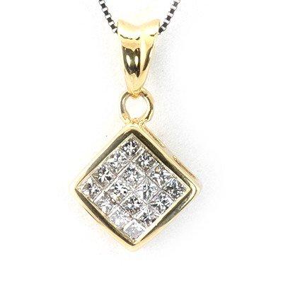 Genuine 0.52Ctw White Diamond Square Necklace 14K Yello