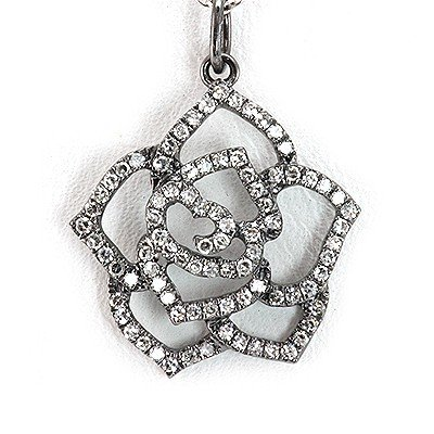 Genuine 0.34 Ctw White Diamond Flower Necklace 14K Whit