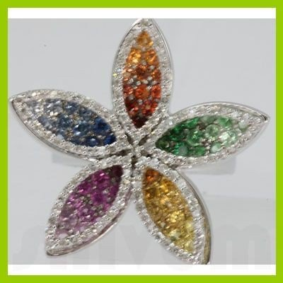 Genuine 2.45 ctw Multi-Sapphire & Diamond Ring 18KT