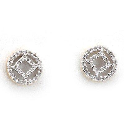 Genuine 0.22 Ctw White Diamond Round Earring 14K Yellow