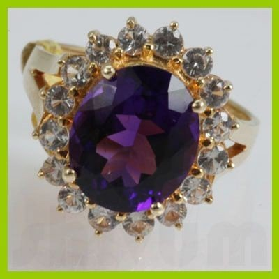 Genuine  5.85 ctw  Amethyst  Ring  14KT Yellow Gold