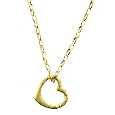 Genuine  14Kt  Yellow Gold Floating Heart Neck Open Lin