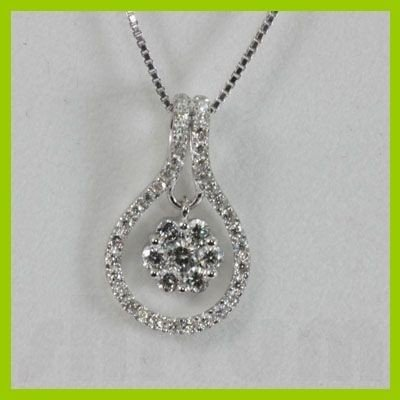 Genuine  0.44 ctw Diamond Necklace 18KT White Gold