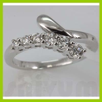Genuine 0.45 ctw Diamond Ring 14K White Gold