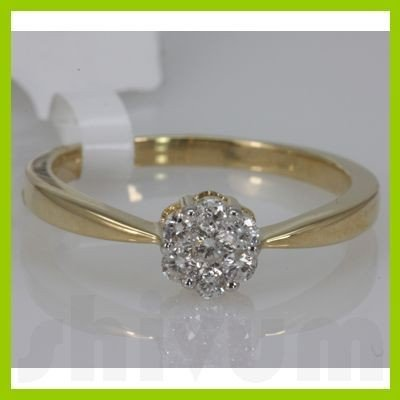 Genuine 0.26 ctw Diamond Ring 14K Yellow Gold