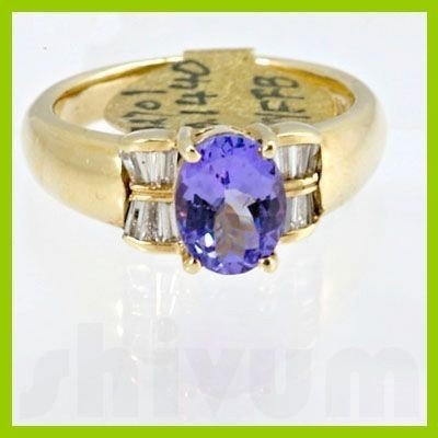 Genuine 1.62 ctw Tanzanite Diamond Ring 14k Yellow Gold