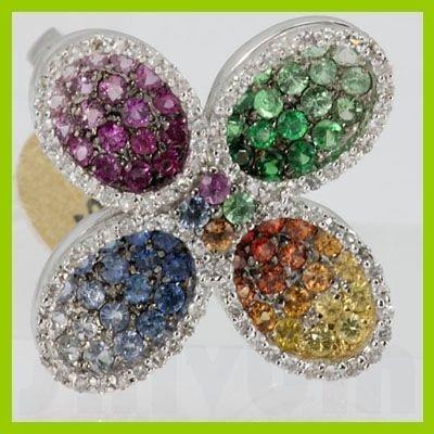 Genuine 2.64 ctw Multi-Sapphire & Diamond Ring 18KT