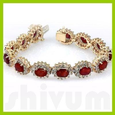 Genuine  29.29 ctw Ruby Diamond Bracelet  14K