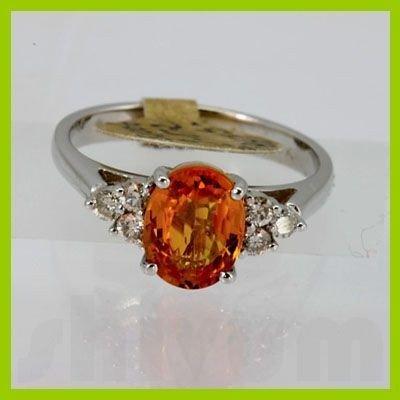Genuine 2.27 ctw Orange Sapphire & Diamond Ring 14KT