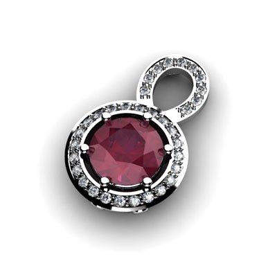 Genuine 2.6 Ctw Ruby Pendant 14Kt White Or Yellow  Gold