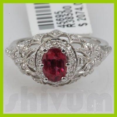 Genuine 1.6 ctw 18k Ruby & Diamond White Gold Ring