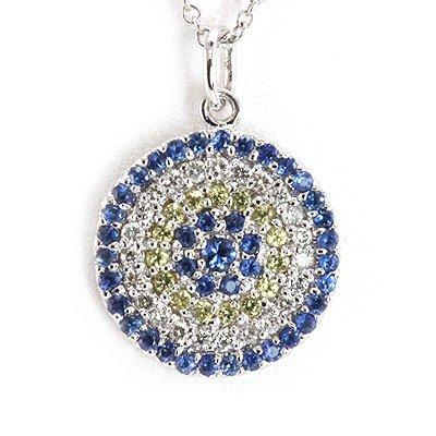 Genuine 0.67 Ctw Blue, Yellow & White Diamond Circle Ne