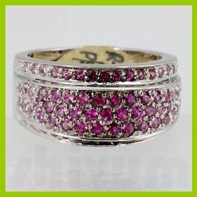 Genuine 1.19 ctw Pink Sapphire& Diamond Ring 14KT