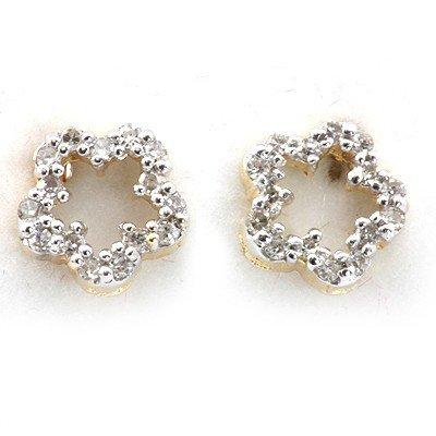 Genuine 0.12 Ctw White Diamond Flower Earring 14K Yello