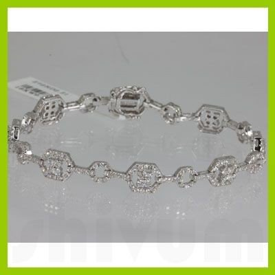 Genuine  2.21 ctw Diamond Bracelet 18KT  White Gold