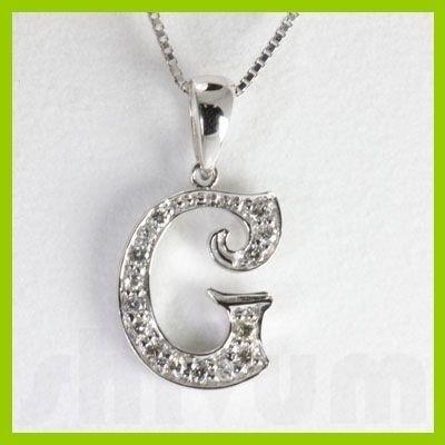 "Genuine 0.14 ctw Letter G Diamond Necklace 16"" 14kt"