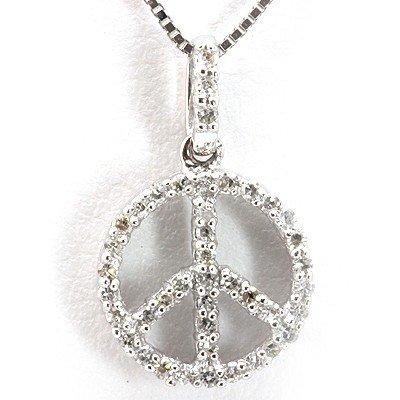 Genuine 0.16 Ctw White Diamond Peace Sign Necklace 14K