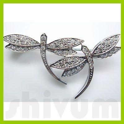 Genuine 0.46 ctw 18K Diamond Studded Fashion Brooch SI1