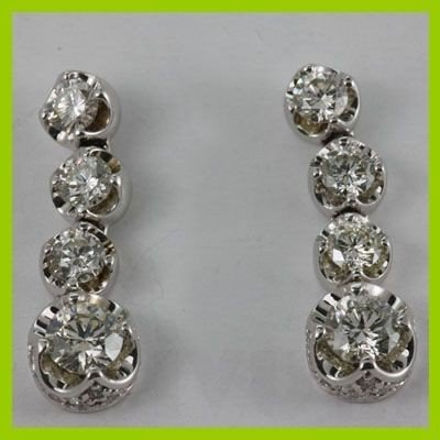 Genuine  2.62 ctw Diamond Dangle Earring 14KT