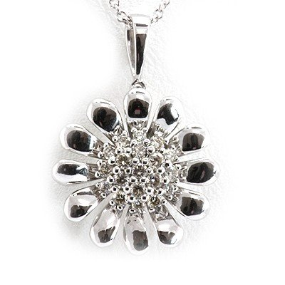 Genuine 0.26 Ctw White Diamond Sun Flower Necklace 14K