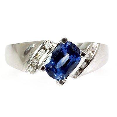 Genuine  Blue Sapphire  1.68  ctw  Diamond Ring  14KT