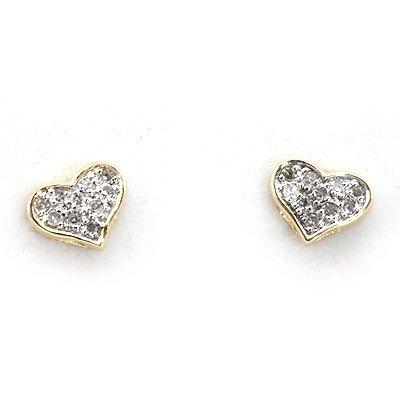 Genuine 0.11 Ctw White Diamond Heart Earring 14K Yellow