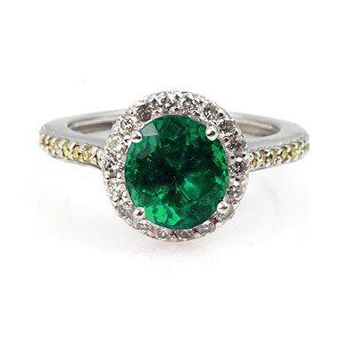 Genuine 2.00 ctw Emerald (Beryl) Ring 14Kt