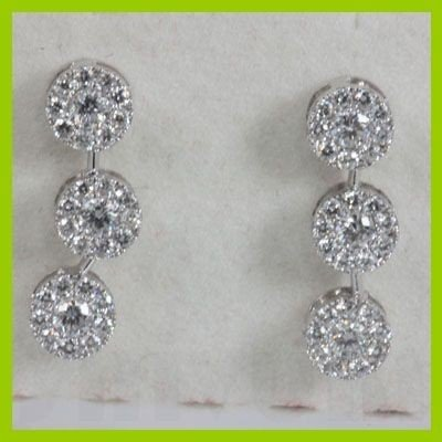 Genuine  1.09 ctw Diamond Earring 18KT White Gold