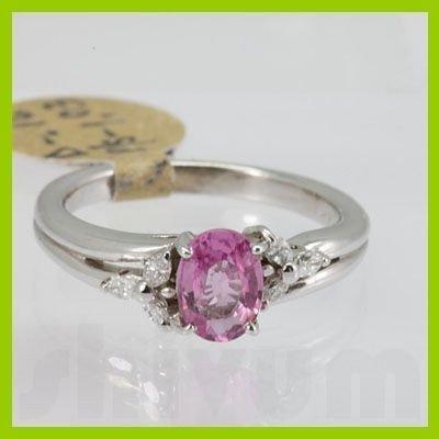 Genuine 1.19 ctw Pink Sapphire & Diamond Ring 14KT