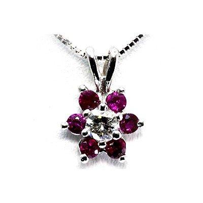 Genuine Ruby0.5Ctw Diamond Necklace14K