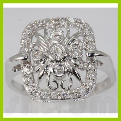 Genuine 0.41 ctw Diamond Ring 14K White Gold