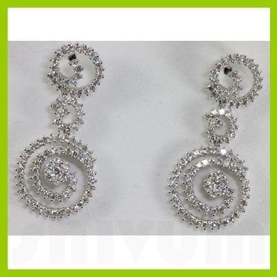 Genuine 2.34 ctw Diamond Spiral Teardrop Earring 18KT