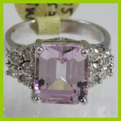 Genuine  5.87 ctw  Pink Kunzite Ring  14KT White Gold