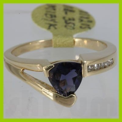 Genuine  0.94 ctw  Iolite Ring  14KT Yellow Gold