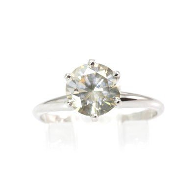 Genuine Solitaire Ring 1.80 ctw & Diamond Ring 14KTGold