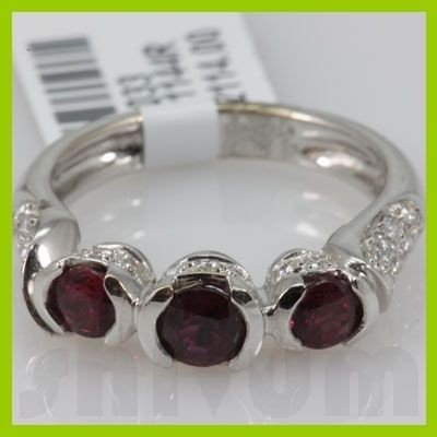 Genuine 1.16 ctw 18k Ruby & Diamond White Gold Ring