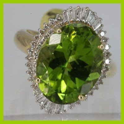 Genuine  10.64 ctw  Peridot Ring  14KT Yellow Gold