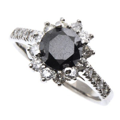 Genuine Black Diamond 1.62 ctw & Diamond Ring 14K