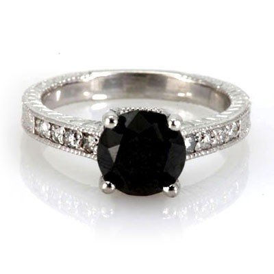 Genuine Black Diamond  2.94 ctw & Diamond Ring 14K